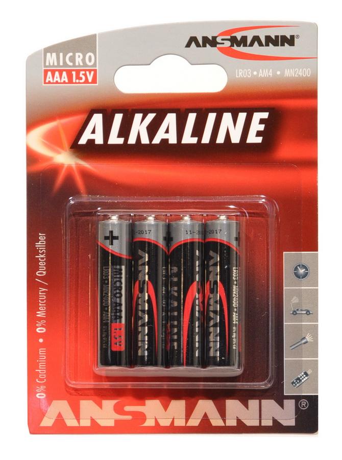 Batteri ANSMANN LR03/AAA 4 stk. Alkaline | Batterier og opladere