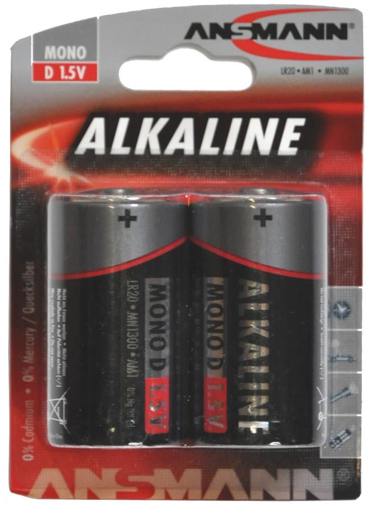 Batteri ANSMANN R20/D 2 stk. Alkaline | Batterier og opladere