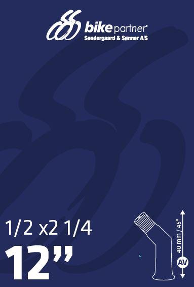 Slange 12 1/2x2 1/4 AV45° 47/62-203 / 12x1,75-2,10 BikePartner   Slanger
