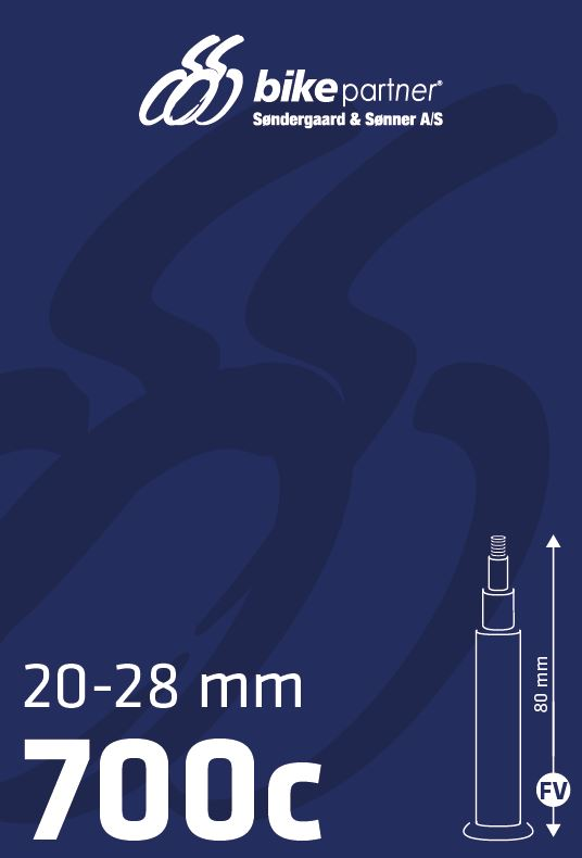 Slange 700x20-28C FV80 20/28-622/-630 BikePartner uden gevind | Slanger