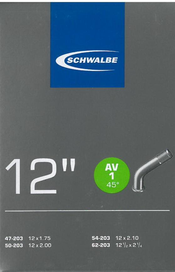 Slange Schwalbe 12 1/2x2 1/4 AV1 æske AV45/45° fx til barnevogn   Slanger