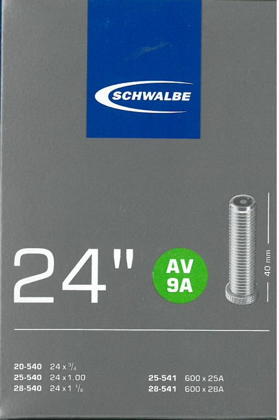 Slange 24x0,75-1,25 Schwalbe AV9A æske AV40 600x25/28A   Slanger