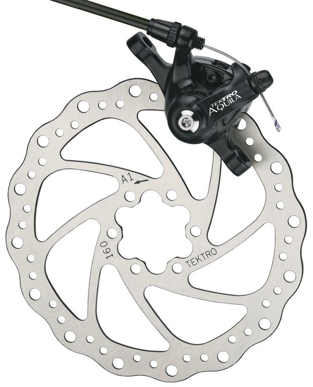 Disc brake Tektro Aquilaw. IS-adapter f. FW&RW,Ø 160 mm,black | Brake pads