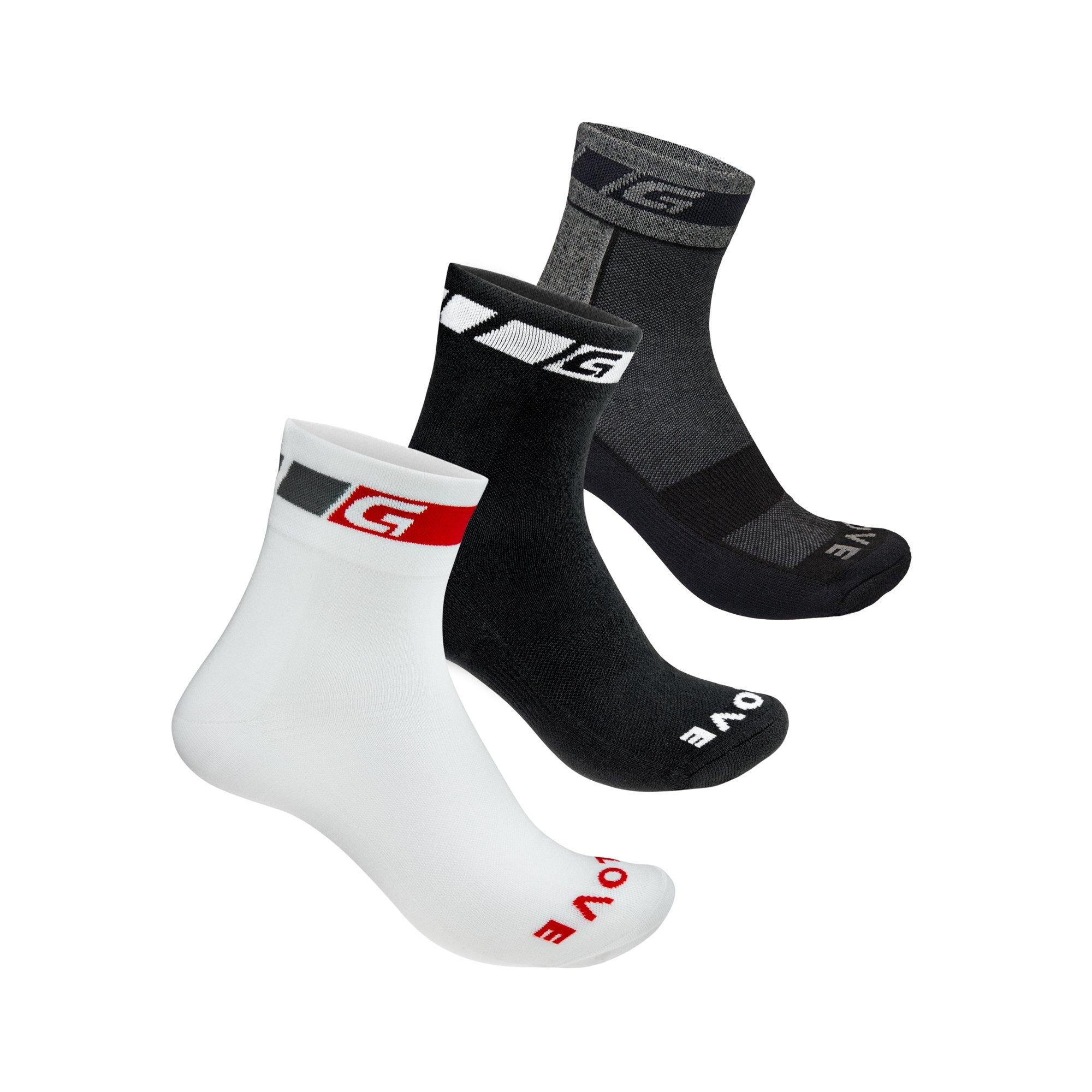 GripGrab 3 pak helårs strømper i hvid/sort/grå | Socks